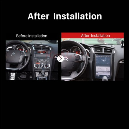 NAVIGATORE TESLA STYLE X CITROEN C4 2012-2016 SCHERMO 12,1 VERTICALE ANDROID 8.1 FULL TOUCH